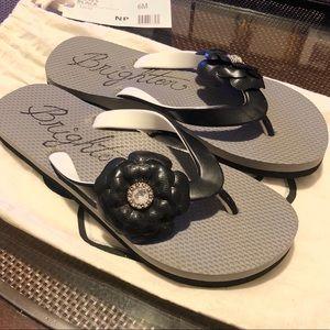 Brighton Shoes - NWT! Brighton Roses Black Flat Flip Flop Shoes 6